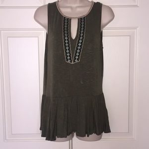 Tops - Army Green Peplum Tank